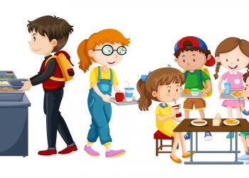 Children eating at cafeteria illustration